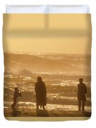 Sunset Along The Ocean East Of The City Duvet Cover