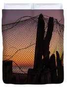 Sunset And Fishing Net Cape May New Jersey Duvet Cover