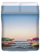 Sunset And Kayaks Duvet Cover