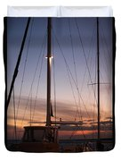 Sunset And Sailboat Duvet Cover