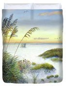 Sunset And Sea Oats At Siesta Key Public Beach Duvet Cover