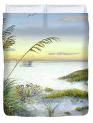 Sunset And Sea Oats At Siesta Key Public Beach -wide Duvet Cover