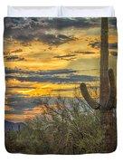 Sunset Approaches - Arizona Sonoran Desert Duvet Cover