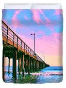 Sunset At Avila Beach Pier Duvet Cover