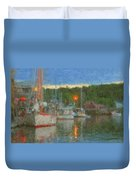 Sunset At Boothbay Harbor Maine Duvet Cover