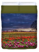 Sunset At Colorful Tulip Field Duvet Cover