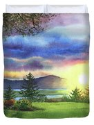 Sunset At Columbia River State Of Washington Duvet Cover