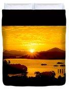 Sunset At Coron Bay Duvet Cover