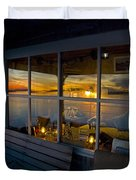 Sunset At Fletchers Camp Duvet Cover by Charles Harden