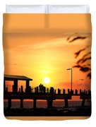 Sunset At Fort De Soto Fishing Pier Pinellas County Park St. Petersburg Florida Duvet Cover