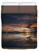 Sunset At Marina In Anacortes In Washington Duvet Cover