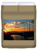 Sunset At Newport Beach Harbor Duvet Cover