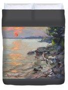 Sunset At Niagara River Duvet Cover