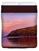 Sunset At North Head Lighthouse Duvet Cover