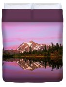 Sunset At Picture Lake Duvet Cover