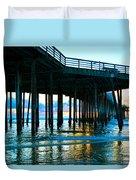 Sunset At Pismo Beach Pier Duvet Cover