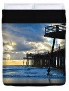Sunset At Pismo Pier Duvet Cover