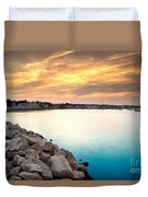 Sunset At Plymouth Harbor Duvet Cover