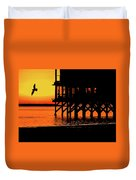 Sunset At Raft With Bird Duvet Cover