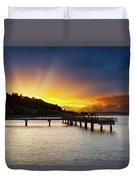 Sunset At Ruston Way Waterfront In Tacoma Duvet Cover