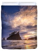 Sunset At Second Beach Duvet Cover