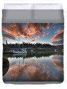 Sunset At Sellwood Riverfront Park Duvet Cover