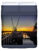 Sunset At Skippers Fish Camp Duvet Cover