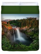 Sunset At Snoqualmie Falls Duvet Cover