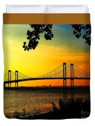 Sunset At The Delaware Memorial Bridge Duvet Cover
