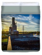 Sunset At The Flood Wall Duvet Cover