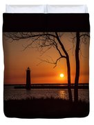 Sunset At The Lighthouse In Muskegon Michigan Duvet Cover