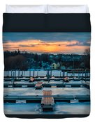 Sunset At The Marina In Winter Duvet Cover