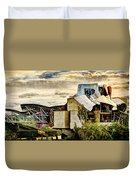 sunset at the marques de riscal Hotel - frank gehry - vintage version Duvet Cover