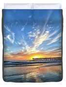 Sunset At The Pismo Beach Pier Duvet Cover