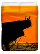Sunset At The Ss Atlantus Concrete Ship Duvet Cover