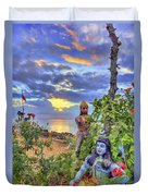 Sunset At The Temple Duvet Cover