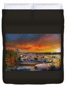 Sunset At Victoria Inner Harbor Fisherman's Wharf Duvet Cover