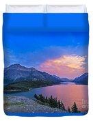 Sunset At Waterton Lakes National Park Duvet Cover