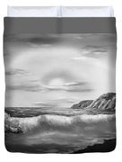 Sunset Beach Pastel Splash In Black And White Duvet Cover