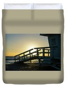 Sunset Behind A Lifeguard Station On Venice Beach Ca Duvet Cover