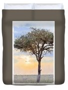 Sunset Behind Acacia Tree Digital Watercolor Duvet Cover