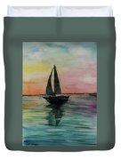 Sunset Boat 1 Duvet Cover