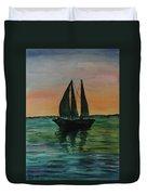 Sunset Boat 2 Duvet Cover