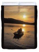 Sunset Boating  Duvet Cover