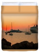 Sunset, Boats And Sea Duvet Cover