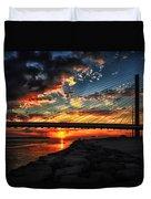 Sunset Bridge At Indian River Inlet Duvet Cover
