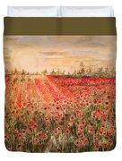 Sunset By The Poppy Fields Duvet Cover