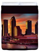 Sunset City Downtown By The River Duvet Cover