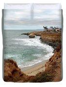 Sunset Cliffs With Bird Rock Duvet Cover
