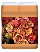 Sunset Colored Roses Duvet Cover